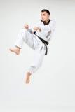 Karate mężczyzna z czarnym paskiem Fotografia Royalty Free