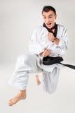 Karate mężczyzna z czarnym paskiem Obraz Royalty Free