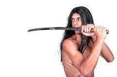 Karate mężczyzna z kataną Obraz Royalty Free