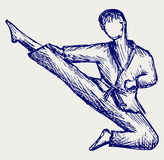 Karate male fighter young. Doodle style Stock Photography