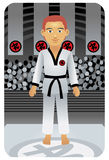 Karate man. Vector illustration of a martial arts sports man. Visit my portfolio for more sport people Royalty Free Stock Image