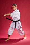 Karate man with black belt Royalty Free Stock Photos