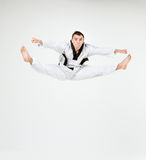 The karate man with black belt Stock Photography