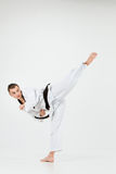 The karate man with black belt Royalty Free Stock Images