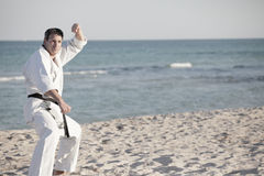 Karate man in a blocking pose Stock Photo
