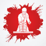 Karate. Man breaking bricks designed on grunge blood background graphic vector Royalty Free Stock Photography