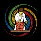 Karate. Man breaking bricks designed on spin wheel background graphic vector Stock Photos