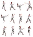 Karate man collage. Karate man exercising against white background Stock Images