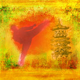 Karate man - Grunge background Stock Image
