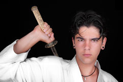 Karate man with katana Royalty Free Stock Images
