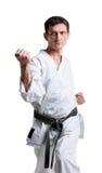 Karate. Man in a kimono. With a white background stock photo