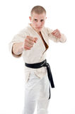 Karate. Man in a kimono Stock Photo