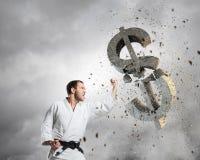 Karate man in white kimino Royalty Free Stock Images