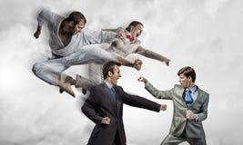 Karate man in white kimino Stock Images