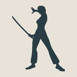 Karate martial art silhouette of woman with sword Royalty Free Stock Photos