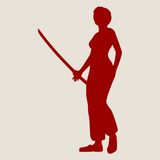 Karate martial art silhouette of woman with sword Royalty Free Stock Image
