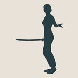 Karate martial art silhouette of woman with sword Royalty Free Stock Photography