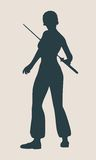Karate martial art silhouette of woman with sword Stock Photography