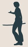 Karate martial art silhouette of woman with sword Stock Photo