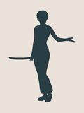 Karate martial art silhouette of woman with sword. Karate martial art silhouette of woman in sword fight karate pose Royalty Free Stock Photos
