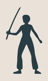 Karate martial art silhouette of woman with sword. Karate martial art silhouette of woman in sword fight karate pose Royalty Free Stock Photo