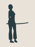 Karate martial art silhouette of woman with sword. Karate martial art silhouette of woman in sword fight karate pose Stock Image