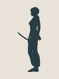 Karate martial art silhouette of woman with sword. Karate martial art silhouette of woman in sword fight karate pose Stock Photo