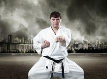Karate master in kimono Royalty Free Stock Image
