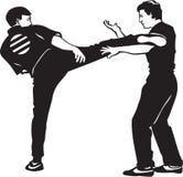 Karate Match. Line Art Illustration of a Karate Match stock illustration