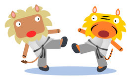 Karate match. A lion and a tiger having a karate match royalty free illustration