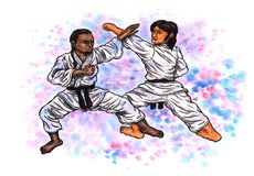 Karate men practicing The Power of Karate-Do, 2017. An abstract colorful watercolor cartoon illustration of two men wearing karate suits and black belts Stock Image