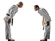 Karate men teenager student fighters fighting Royalty Free Stock Images