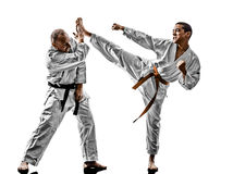 Karate men teenager student fighters fighting Stock Images
