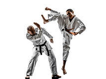 Karate men teenager student fighters fighting Royalty Free Stock Photo