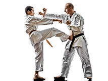 Karate men teenager student fighters fighting Stock Photo