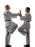 Karate men teenager student teacher teaching Stock Photography