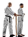 Karate men teenager student teacher teaching Stock Image