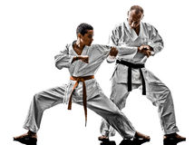 Karate men teenager students teacher teaching Royalty Free Stock Photography