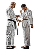 Karate men teenager students teacher teaching Royalty Free Stock Photo