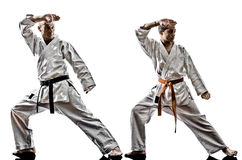 Karate men teenager students teacher teaching Stock Images