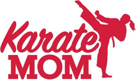 Karate Mom. Vector sports icon Royalty Free Stock Image