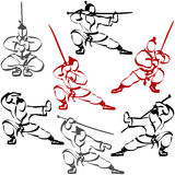Karate Ninja Σαμουράι καθορισμένη σκιαγραφία ανθρώπων αθλητικού μελανιού Katana Στοκ Φωτογραφία