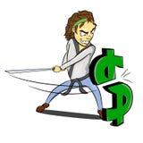 Karate ninja slash dollar. Caricature of a karate guy cutting dollar mark Stock Photos
