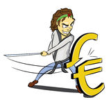 Karate ninja slash euro. Caricature of a karate guy cutting euro mark Royalty Free Stock Images