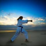 Karate op zonsondergangstrand stock fotografie