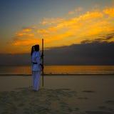 karate plażowy zmierzch obrazy stock