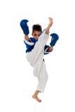 Karate practicante del muchacho Fotografía de archivo