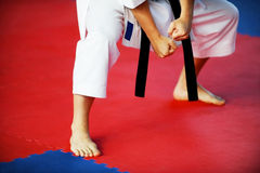Karate practitioner on competition floor Royalty Free Stock Image