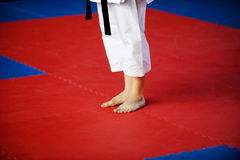 Karate practitioner on competition floor Royalty Free Stock Photo