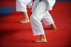 Karate practitioners on competition floor Royalty Free Stock Photo